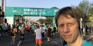 Norske Anders Nordby var en av rekordmange 40.000 deltakere i Tel Aviv Marathon. (Foto: Privat)
