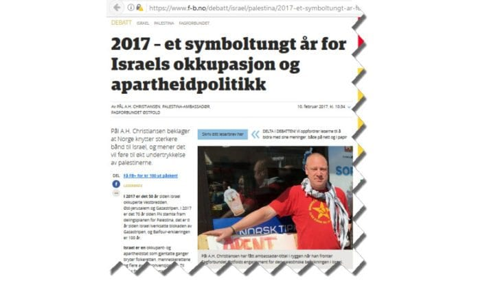 Pål A.H. Christiansen ser mye galt med Israel, men ikke i å posere med en kommunistisk t-skjorte. (Foto: Faksimile Fredrikstad Blad)
