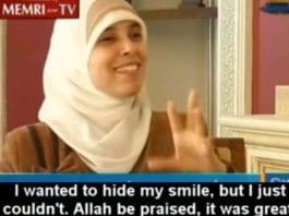 Ahlam Tamimi fortalte i et TV-intervju hvor glad hun ble da hun hørte hvor mange som hadde dødd i selvmordsangrepet. (Foto: Skjermdump)