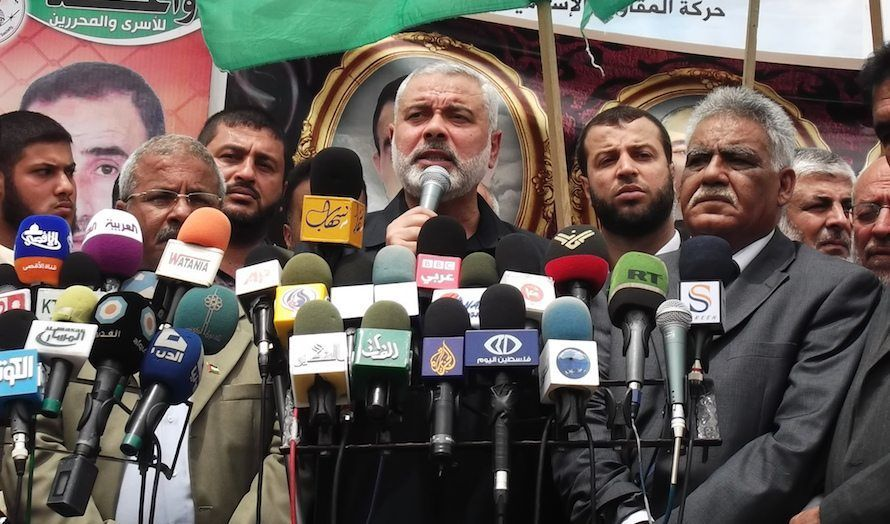 Ismail Haniyeh taler under en støttemarkering for palestinske fanger. (Foto: Joe Catron/Flickr)