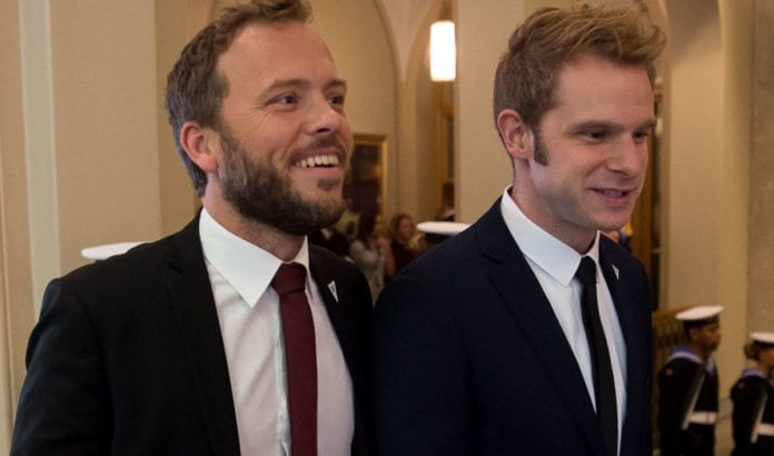 SVs partileder Audun Lysbakken og SVs stortingsrepresentant Snorre Valen. (Foto: Morten Brakestad, Stortinget, flickr)