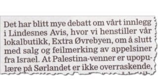 Faksmile fra innlegget til Torunn Giskås og Morten Ekeland fra SV i avisen Lindesnes siste uken i april 2017.