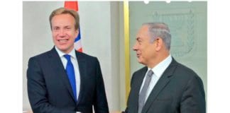 Utenriksminister Børge Brende og statsminister Benjamin Netanyahu 2. april 2017. (Foto: UD, Twitter)