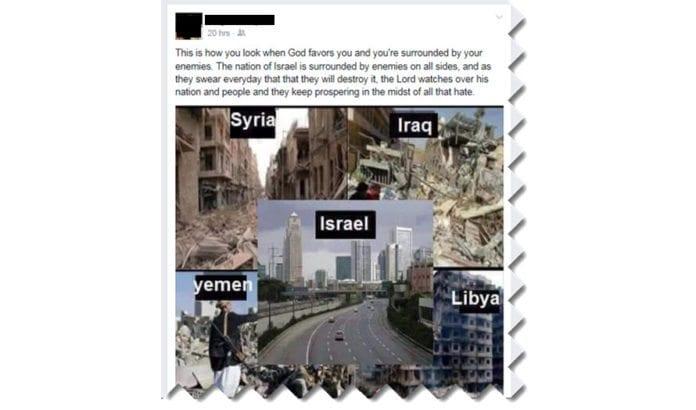 Høsten 2016 delte den statsansatte Israel-vennen dette bildet med sine Facebook-venner. En kollega meldte innlegget til overordnede, og den statsansatte følte seg tvunget til å slette det.