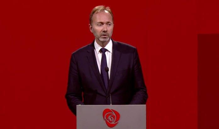 Arbeiderpartiets nestleder Trond Giske. (Skjermdump fra Aps live streaming fra landsmøtet)