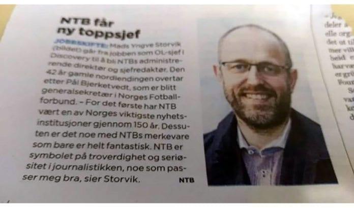 Faksmile av NTBs nyhetsmelding i avisen Dagen 4. april 2017.