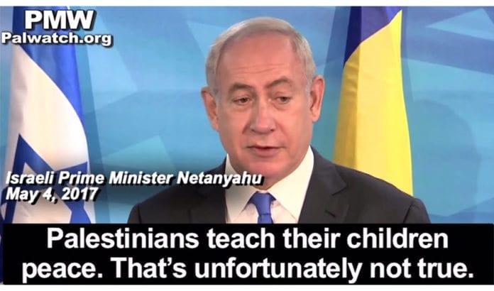 Statsminister Benjamin Netanyahu korrigerer PA-president Mahmoud Abbas.