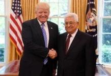 Donald Trump og Mahmoud Abbas i Det hvite hus 3. mai. (Foto: Facebook)