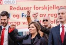 Fra venstre: Rødt-leder Bjørnar Moxnes, Palestinakomité-leder Kathrine Jensen og Arbeiderparti-leder Jonas Gahr Støre. (Foto: Roland Baltzersen)