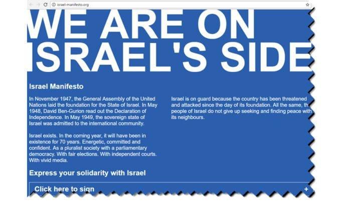 Skjermdump fra israel-manifesto.org.