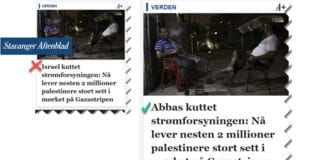 Stavanger Aftenblads overskrift før og etter MIFFs rettelse. (Skjermdump fra aftenbladet.no)