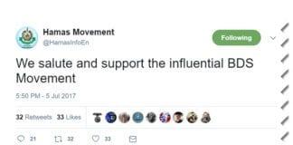 Skjermdump av Twitter-meldingen til Hamas 5. juli 2017.