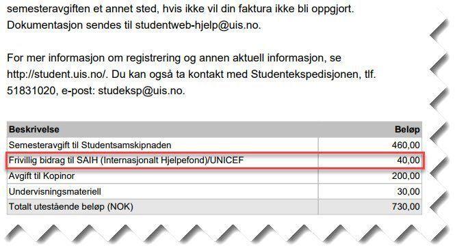 Faksmile av faktura sendt til student ved Universitetet i Stavanger.