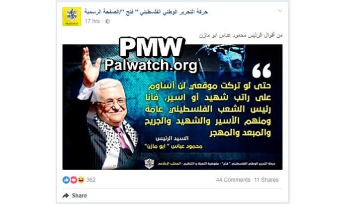 Skjermdump fra Fatahs offisielle Facebook-side (via PMW).