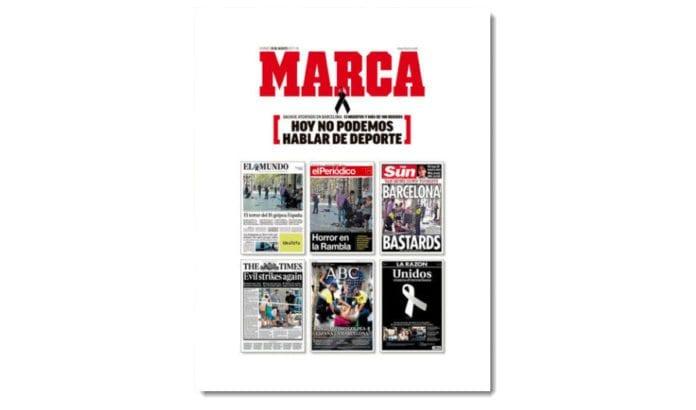 Etter terrorangrepet i Barcelona skrev den spanske sportsavisen Marca på forsiden: «I dag kan vi ikke snakke om sport». Illustrasjonen var forsidene til seks andre aviser som dekket terrorangrepet. (Faksmile: Marca)