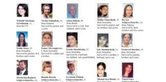 De 15 dødsofrene fra terrorangrepet i Jerusalem 9. august 2001. (Foto: Israelsk UD)