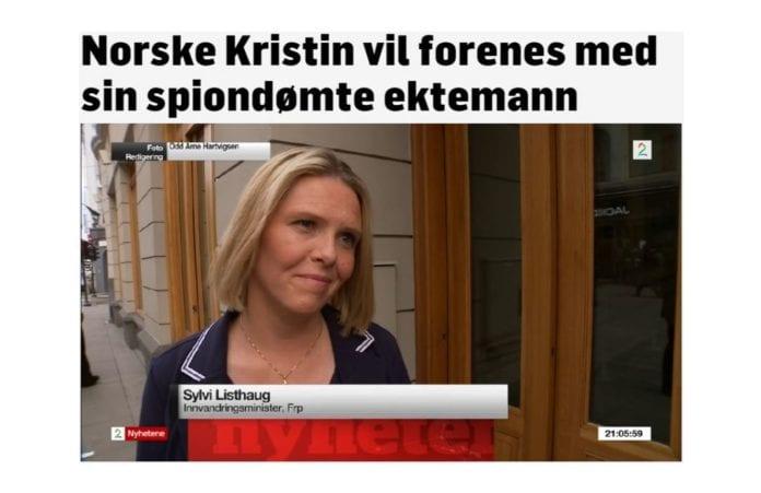 Sylvi Listhaug svarte på spørsmål om Mordechai Vanunu. (Skjermdump fra TV2)