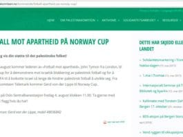 Slik var Palestinakomiteens plan. Etter at MIFF satte fokus på saken har Norway Cup stanset planene. (Skjermdump fra Palestinakomiteen.no kl. 11.00 onsdag 2. august 2017)