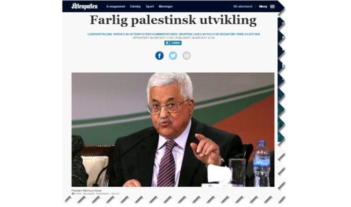 I en lederartikkel kritiserer Aftenposten de palestinske selvstyremyndighetene og mener Norge bør legge press på dem. (Foto: Faksimile Aftenposten)