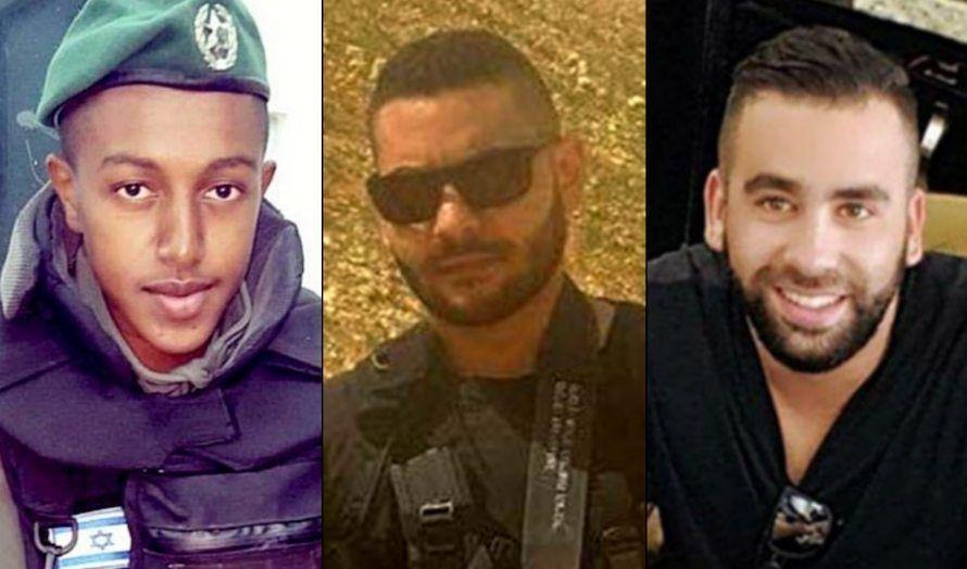 Politimannen Solomon Gavriyah (20) og sikkerhetsvaktene Youssef Ottman (25) og Or Arish (25) ble drept i terrorangrepet 26. september. (Foto: Privat)