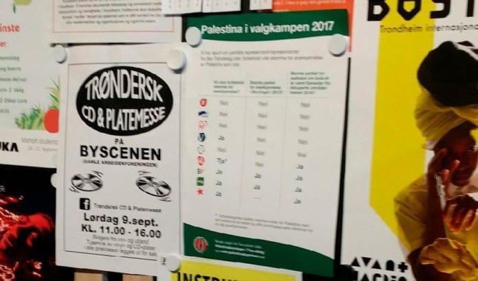 Denne plakaten hang i Trondheim bibliotek da lokalene ble brukt til forhåndsstemming fredag 8. september 2017. (Foto: Rebekka Herberger Rødner)