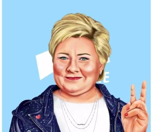 Den israelske kunstneren Amit Shimonis tegning av Erna Solberg var synlig i mange kanaler i Høyres valgkamp i 2017. Her er skjermdump fra Høyres Instagram-konto.