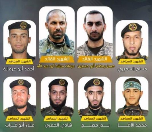 Dette er 12 av terroristene som døde i tunnelen. (Foto: Skjermdump fra saraya.ps)