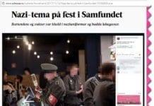 Skjermdump fra Adressa.no viser at Studentsamfundet publiserte bilder fra nazifesten på sin egen offisielle Facebook-side.
