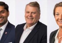 Himanshu Gulati, Hans Fredrik Grøvan og Ingjerd Schou sitter i arbeidsutvalget for Israels venner på Stortinget i perioden 2017-2021. (Foto: Stortinget)