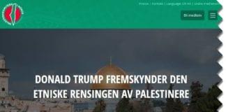 Skjermdump av artikkel publisert på Palestinakomiteens nettside 6. desember 2017.