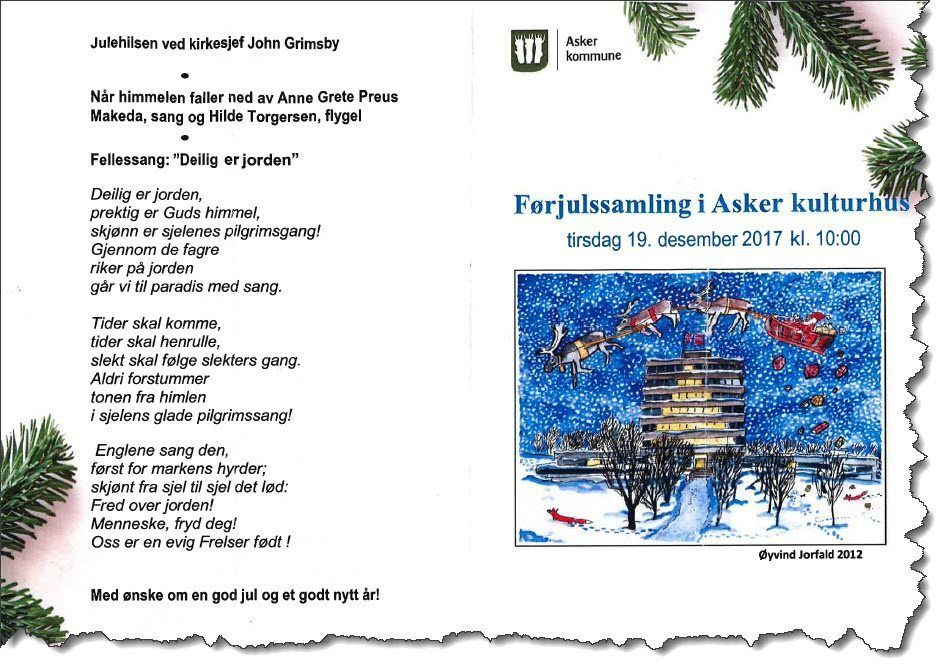 Forsiden og baksiden til programarket for førjulssamlingen for ansatte i Asker kommune. (Faksmile)