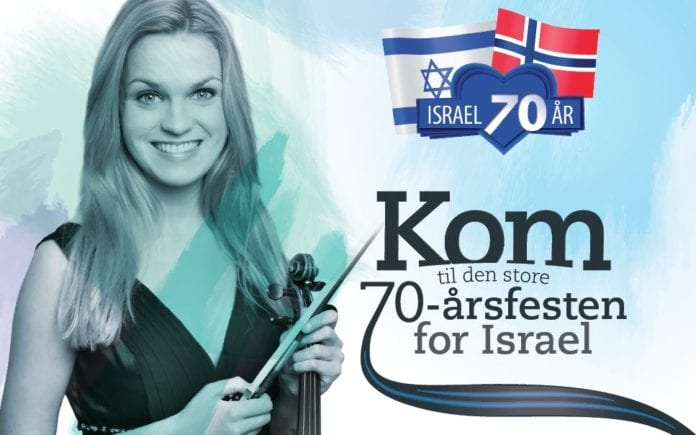 Fiolinist Madelene Berg spiller under 70-årsfesten for Israel.