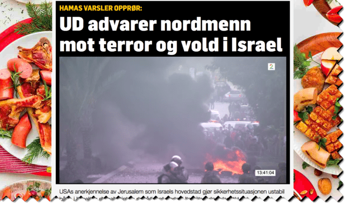 TV2 skaper falske nyheter ved å knytte en fersk Hamas-trussel opp mot et gammelt og generelt reiseråd fra UD. (Foto: Skjermdump TV2)