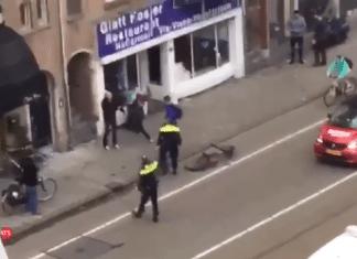 Skjermdump fra videoopptak av angrepet mot en jødisk restaurant i Amsterdam 7. desember 2017.