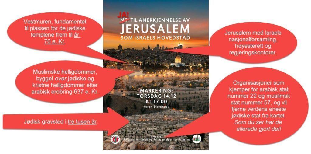 Skjermdump av plakat for demonstrasjon i Oslo 14. desember 2017, med MIFFs kommentarer innlagt i rødt.