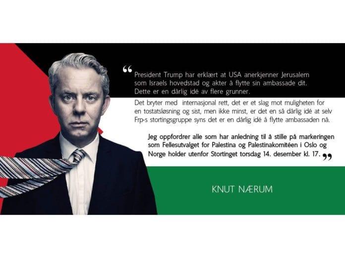 Knut Nærum bommer når det gjelder Jerusalem. (Skjermdump fra Palestinakomiteen i Norge/ Facebook)