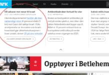 Skjermdump fra toppen av forsiden på nrk.no 7. desember 2017.