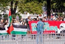 Pro-palestinske demonstranter tar til orde for «global intifada» i Oslos gater 10. august 2014.