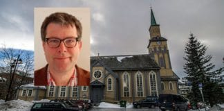 Tromsø domkirke med domprost Stig Rune Lægdene innfelt. (Foto: jechstra, flickr og Kirken.no)