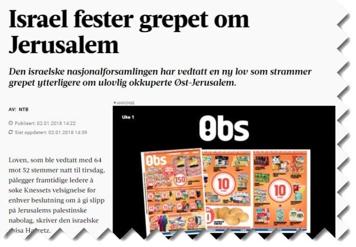 Skjermdump fra Adresseavisen.no.