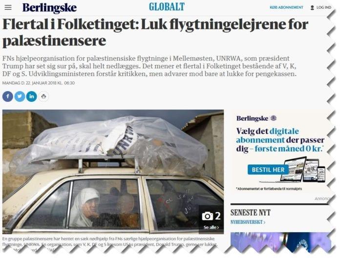 Skjermdump fra b.dk 22. januar 2018.