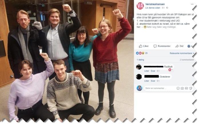 Skjermdump fra Venstrealliansens Facebook-side.