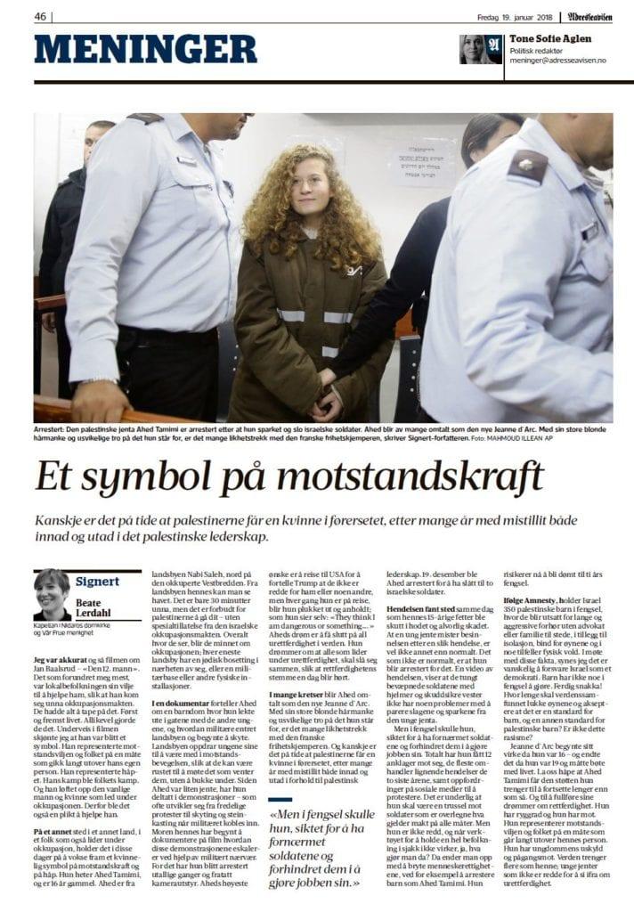 Faksimile av Beate Lerdahls kommentar i Adresseavisen fredag 19. januar.