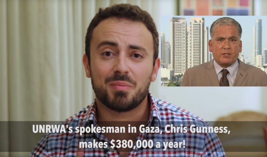 UNRWA-talsmann Chris Gunnes oppe til høyre i dette bildet. (Skjermbilde fra Youtube)