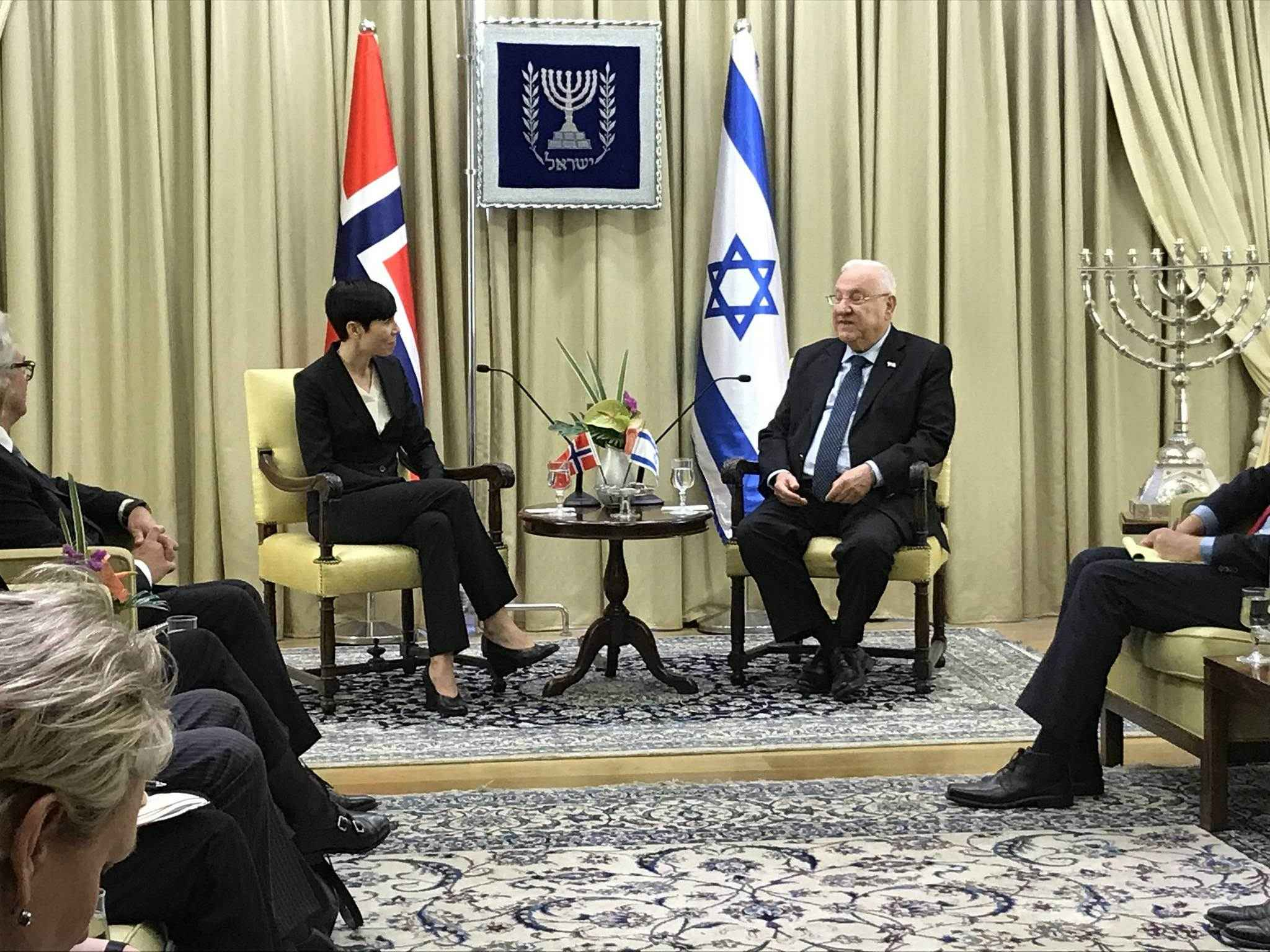 Utenriksministeren møtte Israels president Reuven Rivlin. (Foto: UD)