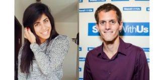 Yuval Rahamim og Aviv Rosenfeld representerer organisasjonen Stand With Us. (Foto: Privat)