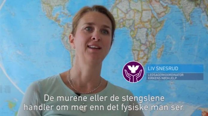 Liv Snesrud fra Kirkens Nødhjelp ble nektet innreise i Israel. (Skjermdump video fra Kirkens Nødhjelp)