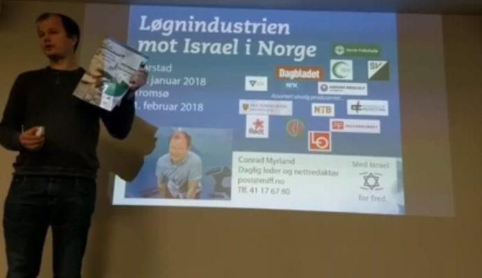 Conrad Myrland i MIFF Tromsø 1. februar 2018. (Skjermdump fra direktesending på Facebook)