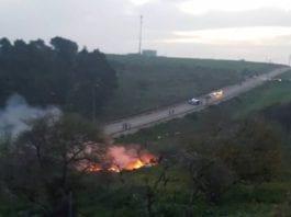 Dette skal være stedet hvor et israelsk F-16 jagerfly styrtet etter å ha blitt truffet av syrisk luftvern. (Foto: Israelske medier)