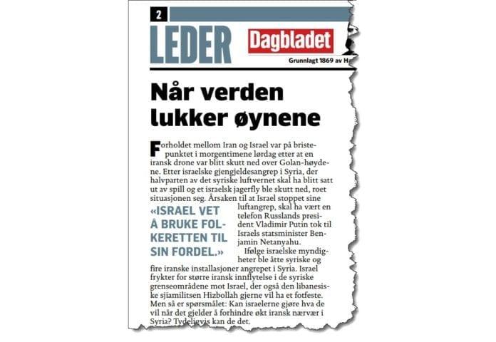Faksmile fra Dagbladet 13. februar 2018.